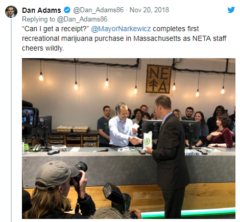 Tweet of Northampton Mayor Buying First Recreational Marijuana