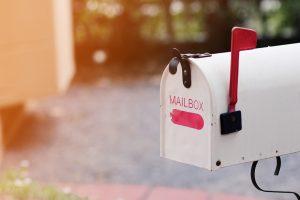 Vintage white mailbox