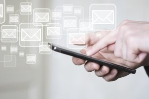 Digital Email Icons Around Smartphone