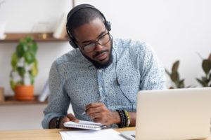 Wearing headphones on Computer