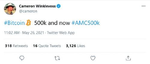Winklevoss on BTC and AMC on Twitter